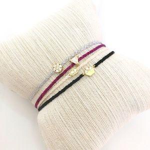 gold CZ triangle charm dainty friendship bracelet